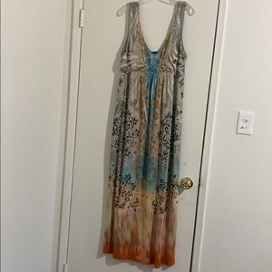 Yellow & Blue Maxi Dress XL